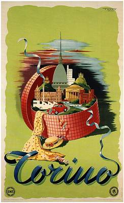 Royalty-Free and Rights-Managed Images - Torino, Italy - Gift Basket - Retro travel Poster - Vintage Poster by Studio Grafiikka