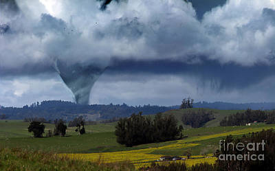 Digital Art - Tornado Looms In The Distance by Wernher Krutein