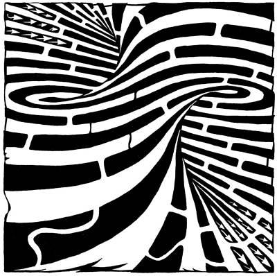 Mobius Drawing - Tornado Maze by Yonatan Frimer Maze Artist