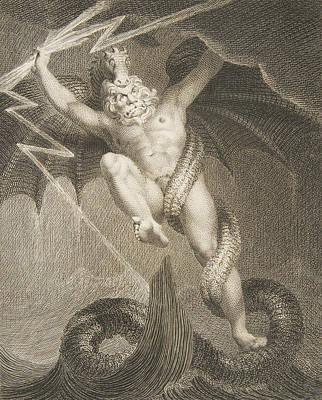 Relief - Tornado Zeus Battling Typhon by William Blake