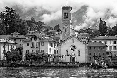 Photograph - Torno On Lake Como Italy Bw by Joan Carroll