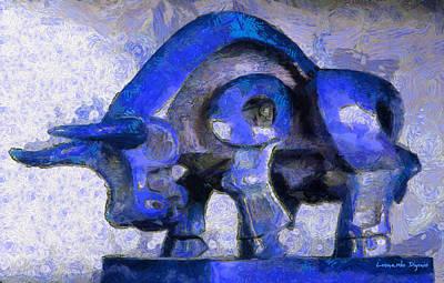 Golden Vines Painting - Toro Caminando Blue - Pa by Leonardo Digenio