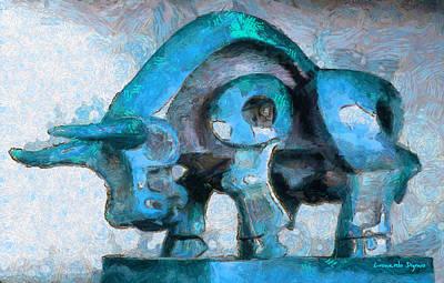 Golden Vines Painting - Toro Caminando Cyan - Pa by Leonardo Digenio
