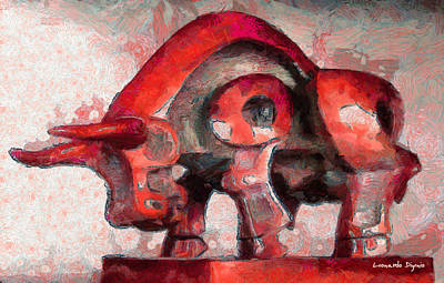 Golden Vines Painting - Toro Caminando Red - Pa by Leonardo Digenio
