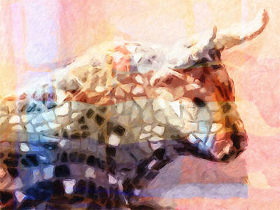 Colorful Cows Painting - Toro Colorful by Lutz Baar