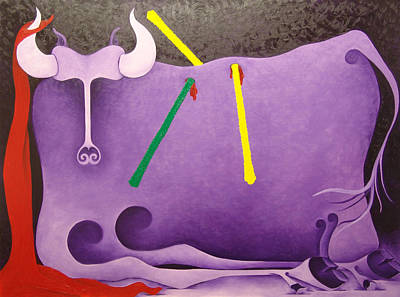 Toro Morado  1988 Art Print by S A C H A -  Circulism Technique