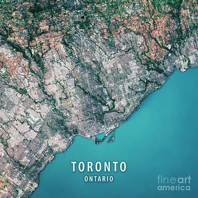 Canada Digital Art - Toronto 3d Render Satellite View Topographic Map by Frank Ramspott