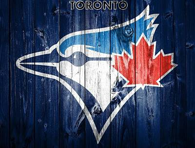 Baseball Players Mixed Media - Toronto Blue Jays Barn Door by Dan Sproul