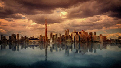 Mixed Media - Toronto Canada Skyline P D P by David Dehner