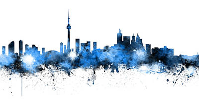 Digital Art - Toronto Canada Skyline Panoramic by Michael Tompsett
