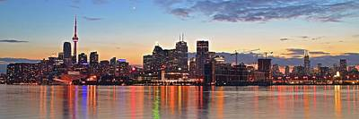 Photograph - Toronto Canada Sunset Panoramic by Frozen in Time Fine Art Photography