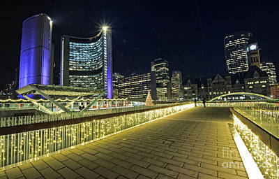 Photograph - Toronto City Hall Holiday Lights by Charline Xia