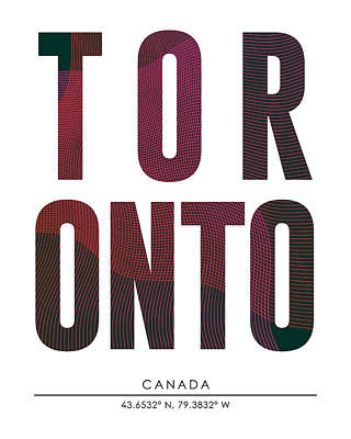 Mixed Media - Toronto, Canada - City Name Typography - Minimalist City Posters by Studio Grafiikka