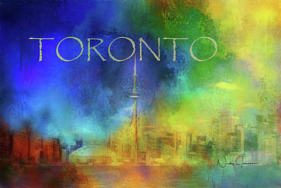 Digital Art - Toronto - Cityscape by Nicky Jameson