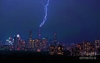 Photograph - Toronto Cn Tower With Lightnings by Charline Xia