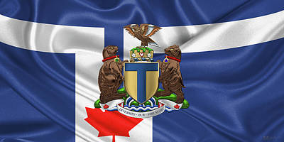 Six Flags Digital Art - Toronto - Coat Of Arms Over City Of Toronto Flag  by Serge Averbukh