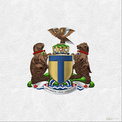 Digital Art - Toronto - Coat Of Arms Over White Leather  by Serge Averbukh