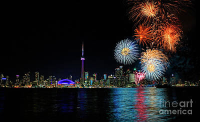 Photograph - Toronto Harbourfront Fireworks by Charline Xia