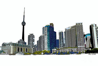 Toronto Maple Leafs Digital Art - Toronto Harbourfront Skyline by Nina Silver