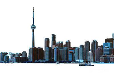 Toronto Maple Leafs Digital Art - Toronto Harbourfront Skyline With Dome And Cn Tower by Nina Silver