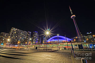 Photograph - Toronto Harbourfront Street Car Light Trails by Charline Xia