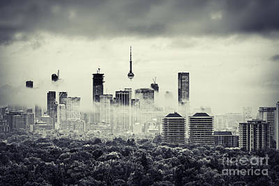 Photograph - Toronto In Rain Clouds by Charline Xia