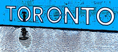 Photograph - Toronto In The Rain Poster In Blue by Nina Silver