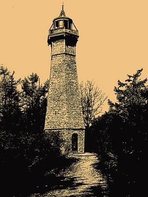 Photograph - Toronto Island Lighthouse Sepia by David Pantuso
