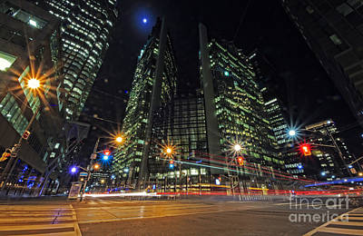 Photograph - Toronto King And Bay Night Traffic by Charline Xia