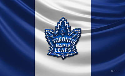 Toronto Maple Leafs - 3d Badge Over Flag Art Print