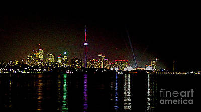 Photograph - Toronto Neon Skyline In Oil by Nina Silver