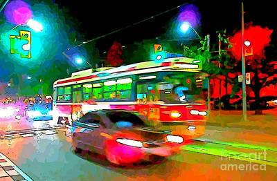 Toronto Nightscape Abstract Art Print by John Malone