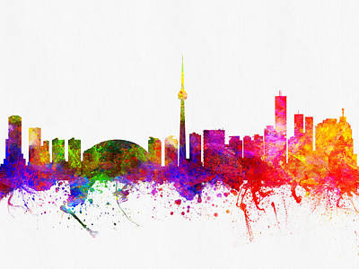 Towns Digital Art - Toronto Ontario Skyline Color02 by Aged Pixel