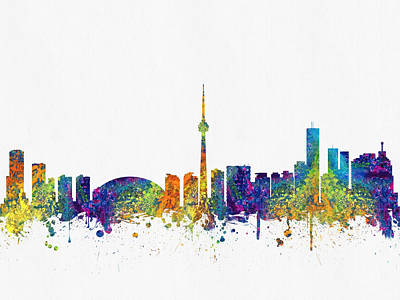 Towns Digital Art - Toronto Ontario Skyline Color03 by Aged Pixel