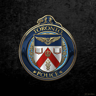 Print featuring the digital art Toronto Police Service  -  T P S  Emblem Over Black Velvet by Serge Averbukh