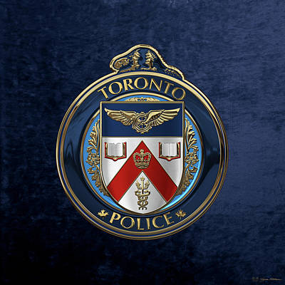 Toronto Police Service  -  T P S  Emblem Over Blue Velvet Art Print by Serge Averbukh