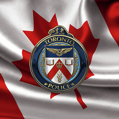 Print featuring the digital art Toronto Police Service  -  T P S  Emblem Over Canadian Flag by Serge Averbukh