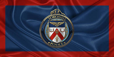 Digital Art - Toronto Police Service  -  T P S  Emblem Over Flagtoronto Police Service  -  T P S  Emblem Over Flag by Serge Averbukh