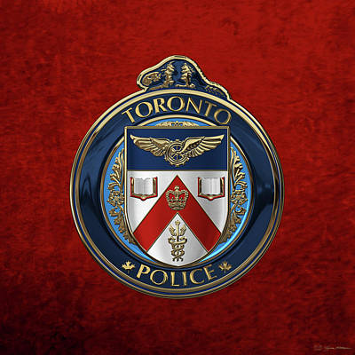 Print featuring the digital art Toronto Police Service  -  T P S  Emblem Over Red Velvet by Serge Averbukh