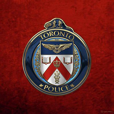 Toronto Police Service  -  T P S  Emblem Over Red Velvet Art Print by Serge Averbukh