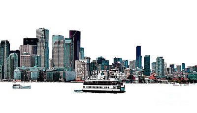 Toronto Maple Leafs Digital Art - Toronto Portlands Skyline With Island Ferry by Nina Silver