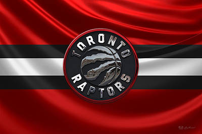 Toronto Raptors - 3 D Badge Over Flag Art Print by Serge Averbukh