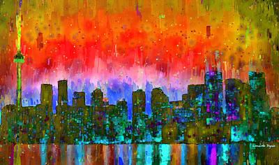Tourist Painting - Toronto Skyline 11 - Pa by Leonardo Digenio