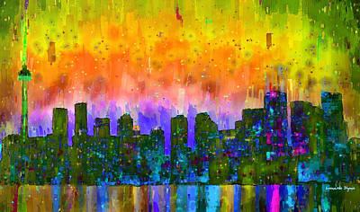 Toronto Painting - Toronto Skyline 12 - Pa by Leonardo Digenio