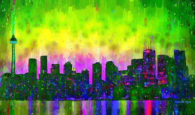 Nightlife Digital Art - Toronto Skyline 13 - Da by Leonardo Digenio
