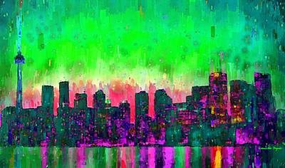 Toronto Digital Art - Toronto Skyline 14 - Da by Leonardo Digenio