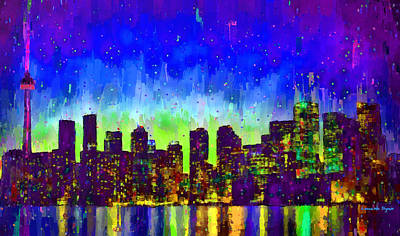 Panoramic Painting - Toronto Skyline 15 - Pa by Leonardo Digenio