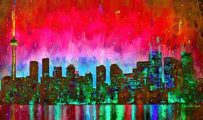Lit Painting - Toronto Skyline 17 - Pa by Leonardo Digenio