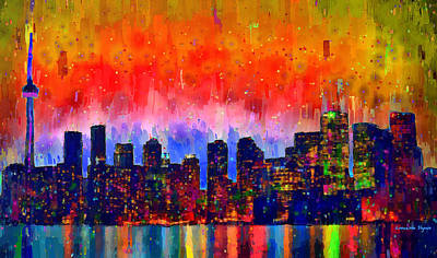Corporate Digital Art - Toronto Skyline 18 - Da by Leonardo Digenio