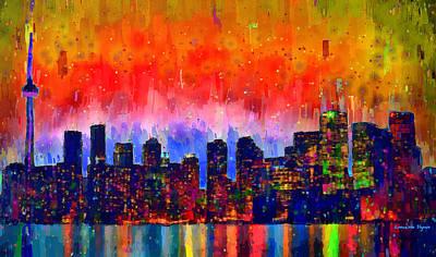 Financial Painting - Toronto Skyline 18 - Pa by Leonardo Digenio